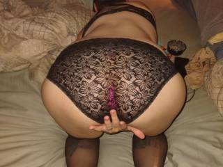 So sexy when she\'s rubbing that fat pussy, waiting for me to fill her ass