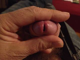 squeezing my dick for you!