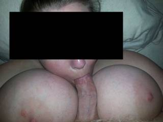 tit fucking wife and getting a blowjob