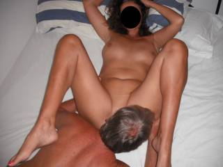 Our swinger friend licking out my pussy, when he recently came around for a threesome.
