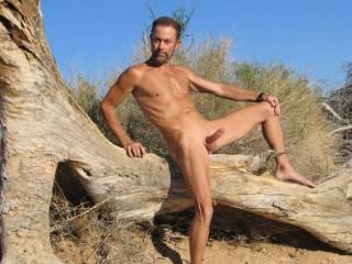 Hiking naked in AZ, smooth true nudist