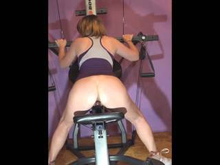 Just having some fun riding a big dildo during my workout until I reach my first quivering orgasm.