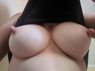 Turned on - hard erect big nipples. Who likes them?