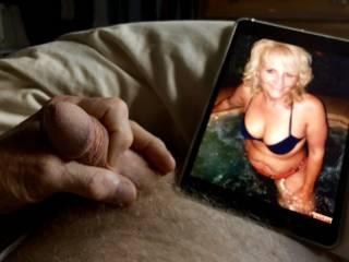 Beginning to masturbate staring at Hotwife68's hot cleavage!