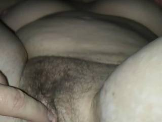 Playing with her freshly fucked raw pussy