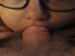 a great deepthroat blowjob from sweet girl with glasses and sexy eyes