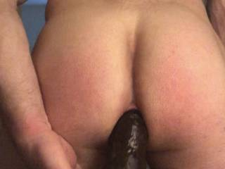 Nice bbc deep in my ass while I'm wanking my hard fat cock