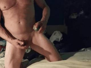 Climbing into the bed lubeing my cock for some pussy and anal with my gf