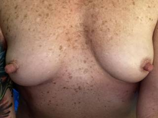 These hard nipples need some attention. Any young guys want these hard nipples in your mouth?