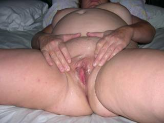 your a good MRS I probly just put my cock in your mouth to suck me hard so I could just ease it up that wet hole and then fuck you good and spry my spunk load over that sexy belly and tits just for you