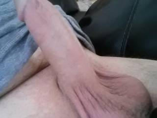 Nice cock, beauty balls!  Think I'd wanna jack your cock while sucking your sweet sack!