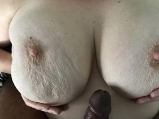 Getting ready to titty fuck the wife