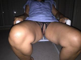 My wife slipped into crotchless knickers and kept on flashing