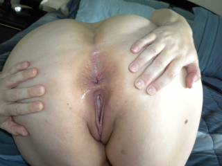spreading my wet pussy and ass, my husband has me do this for him all the time and I love to obey!
