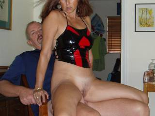 Candi Annie grinds Al\'s cock into her soaking wet pussy...and makes one hell of a look into the camera- you want to fuck that?
