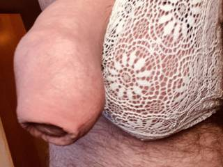 In white lacy panties.