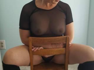 Sheer black lingerie milf