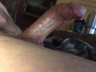 Brian Stoddard's shaved gay penis dripping cum
