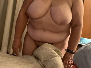 Curvy wife showing us her tan lines before going to bed. Anyone interested in joining her for the night?