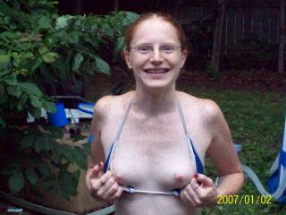 I love flashing pics! This is so hot, and I love your tits, nice handsized titties are the BEST! And the nipples are that super hot pink. Yum!