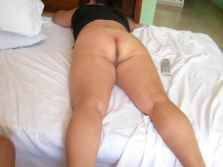 Lying there with that naked ass for us to enjoy....and enjoy it I did!