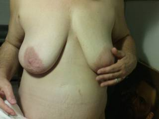 Can I cum suck on those sweet heavy hangers. Nice