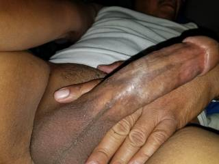 Another morning enjoying the feel of my fat cock and soft smooth balls