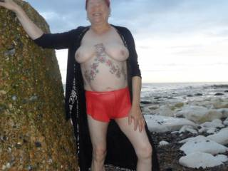 hi all we popped out for a walk on the beach in the evening, there was not many people around so I thought why not show some more flesh dirty comments welcome mature couple