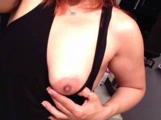 Flashing those tits again...