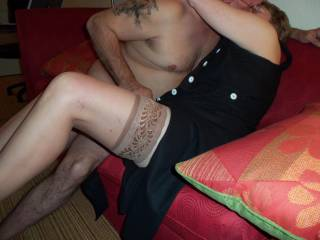 First time meeting this guy I decided to wear thigh high stockings.  He got naked so quick.  My husband suggested a few pictures of us getting to know each other.