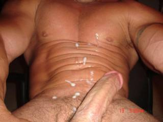 Mmmmmm, now that is so delicious....I could lick that all up and shove your cock in my mouth...and suck you to another orgasm.  K