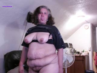 """Lynne is my 49yo married bbw horny granny neighbor Her hubby knows she cums over cause she wants me to use her like the old dirty slut she is Shes 5\'2"""" 205# got big saggy 42Ds hard dark nips, a fat belly, a big wide ass and a wet sloppy hairy cunt. Enjoy!"""