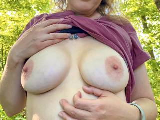 My wife showing off her beautiful big tits