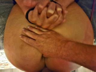 My favorite view of MySlutBello. I love her spanked ass bent over in front of me, hands bond submissively, fucking her soaking wet pussy while stretching her ass in preparation for an ass fucking. The only thing missing is someone fucking her throat.