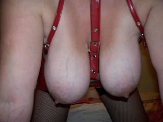 my gorgous slut in her latex bra with big tits hanging