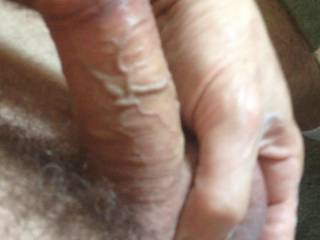 Haven't shot a load in 3 weeks.  Decided to shave my balls and rub some lotion on them.  well one thing lead to another and now I'm playing with my cock.  Trying some edging for  tonight.  Hope wife is in the mood otherwise I will have to save it my G/F