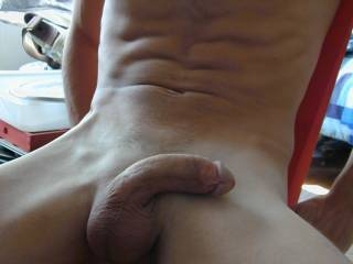 lean back nothing like a thick piece of sausage ready for sucking on!! awesome shaved balls and well meaty cock !!