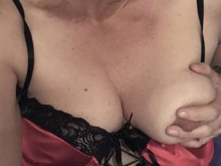 This tittie just slipped out...it's super sensitive and loves being sucked AND fucked! Anyone care to gimme a tittie fuck?  Cocks or toys perfectly acceptable...