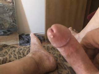 Hard with pre cum in the tip