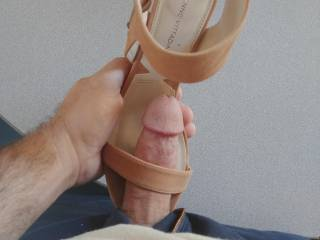Thisbis a pic from my stroking session video with a beautiful girls shoes. It was a perfect fit once I got my cock hard.  Wish I could have shot my cum right up the length of her shoe and just left it. But I had to be good.. felt so nice