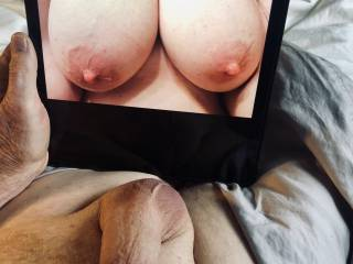 Love getting a text like this. Her succulent breasts have my full attention.
