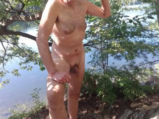1st time this year at a nearby Lake with a nudist section. It\'s great to be naked in the sunshine.