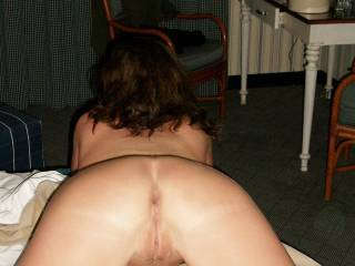 I've seen my wife in this position hundreds of times.  You remind me so mush of her in that position.  I could almost say that this picture was her.  I love eating her pussy and then fucking her in that position...can I assume that you get that too?  G