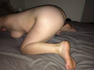Id lie under you so you could lower that hot pussy and ass on my face so I could eat that furry pussy pie and tongue your bung hole.  then  I'd pound your cunny good in that position.