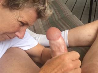 Great cock stroking and great cum shot....love the way she jacks off your cock!