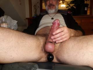 masturbating big, hard, cock to ejaculation pic