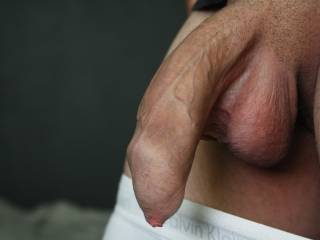 looking at your thick intact, beautiful foreskinned dick..makes me cum.