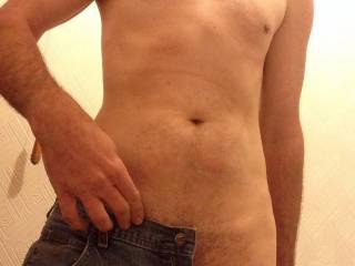Nearly naked and ready for a shower...u ready for the reveal?