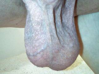 Hubby's hanging balls, about to slap my ass from the back