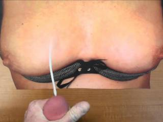 Stroking my cock and cumming on wergame's sweet tasty tits!